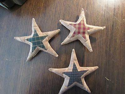 Primitive Fabric Stars - Tea Stained Muslin with Homespun Fabric in Colors!!!