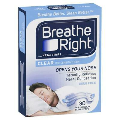 Breathe Right Nasal Strips Clear Regular Size 30 Strips