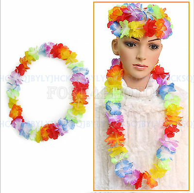 Summer Hawaiian Beach Flower Necklace Decorations Crafts Party Luau Hula Wreaths