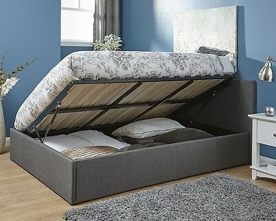 Side Lift Ottoman Storage Gas Lift Bed Frame 4FT 4FT6 Fabric Leather Grey Black