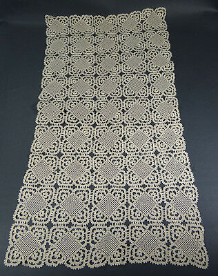 Antique Hand Crochet Table Cloth Cover Rectangular Doily Placemat Runner Rhombus