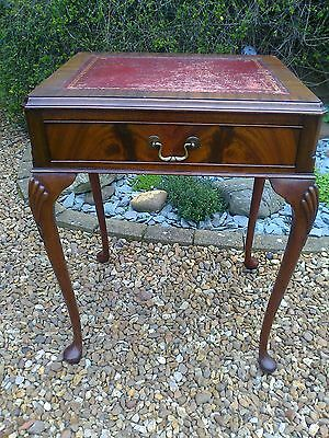 Flame Mahogany 1930's Writing Table/Writing Desk with Drawer