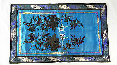 Antique Chinese Silk Embroidered Panel Qing Dynasty Original Blue Wall Hanging