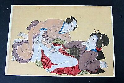 Estate Antique Handpainted  Japanese Painting on Cloth- SHUNGA,Erotic Geisha #2