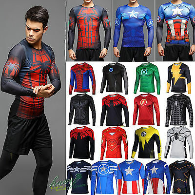 Mens Marvel Compression Long Sleeve T-shirt Sportswear Jersey Under Base Layer