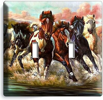 Wild American Horses Running In River Water Double Light Switch Wall Plate Cover