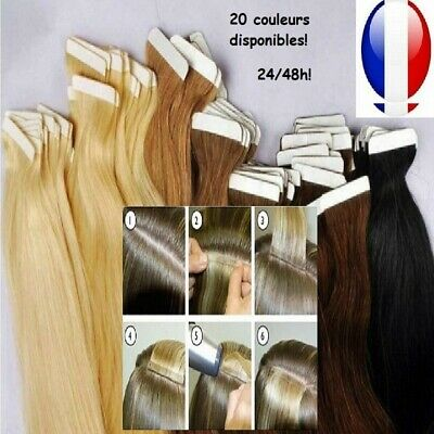 10-20-30-40 Bandes Extensions Tape Adhesives Cheveux 100% Naturels Remy 49-60 Cm