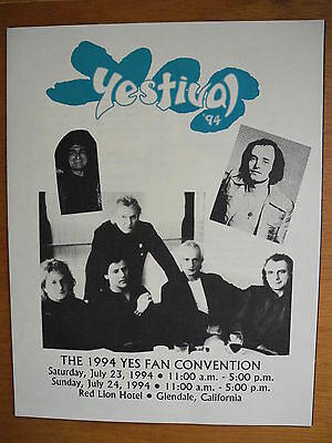 """YES - """"Yestival"""" - 1994 FAN CONVENTION PROGRAM - w/ 3 Inserts & 2 Press - RARE!"""