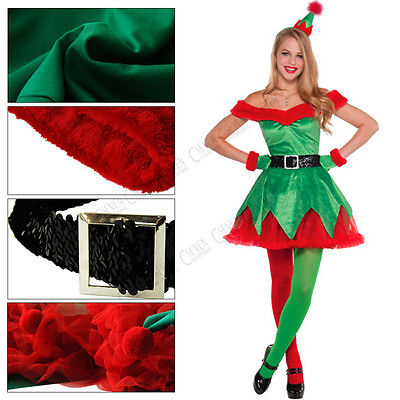 UK Sexy Adult Womens Ladies Elf Fancy Dress Costume Outfit Evening Party Cosplay