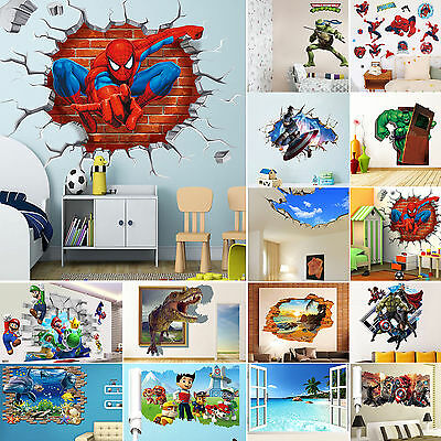 3D Kids Room Decor Wall Sticker Removable Art Vinyl Nursery Mural DIY Home Decal