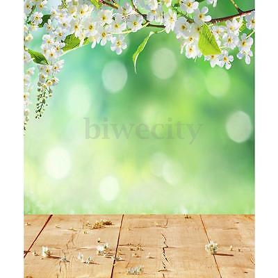 3X5FT Green White Flowers Photography Background Backdrop Photo Prop For Studio