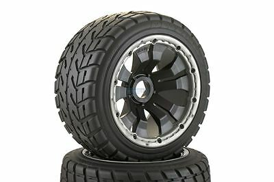 Road Tyre Buggy Wheels Black Poison Rims Rear Pair Fits KM HPI Baja Buggy 1/5th