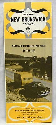 New Brunswick Canada Automobile Highway Road Map 1952 Vintage Travel Tourism