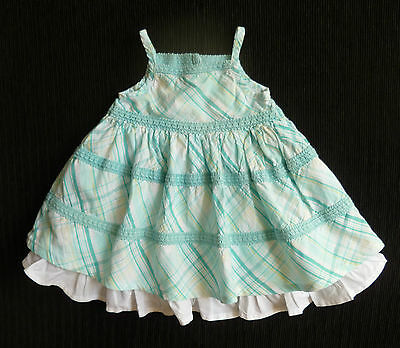 Baby clothes GIRL 3-6m Matalan turquoise white frill underskirt cotton dress