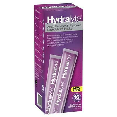Hydralyte Rehydration Ice Blocks Apple Blackcurrant 16 Pack