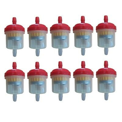 Universal Motorcycle Scooter Inline 6mm Magnetic Clear Fuel Filter Red x10