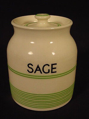 RARE SMALL GREEN BANDED SAGE JAR with LID KLEEN KITCHEN WARE STAFFORDSHIRE MINT