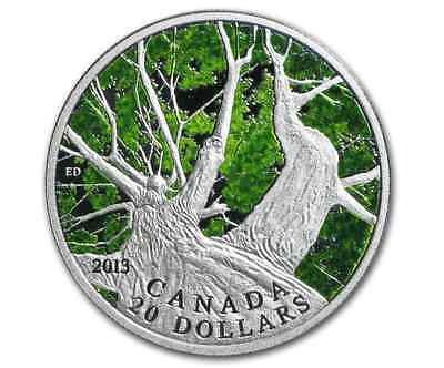 1 oz Fine Silver Coin - Canadian Maple Canopy (Spring) - Mintage 7500 (2013)