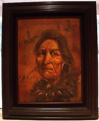 TONY M SANDOVAL Native American Artist canvas Professional Wood Mount Estate