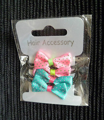 Hair accessories kids 3 years+ 4 black stretch band/turquoise/pink material bows