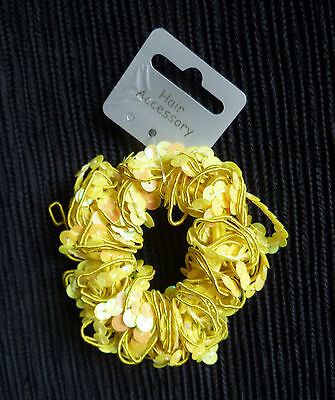 Hair accessories kids 3 years+ yellow stretch ponytail/bun band/sequins SEE SHOP