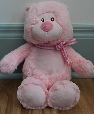 "Baby Ganz Jasper Pink Bear With Bow 10"" Baby Girl Soft Plush Toy"