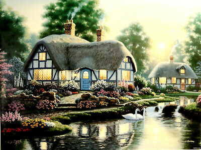 COTTAGE HOUSE SWANS FARLEYS MILL PICTURE TWO ART PRINTS ONLY 16X20