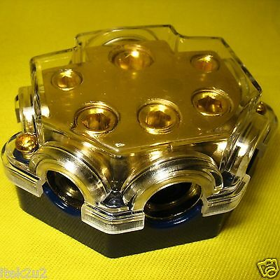 Car Audio Power Distribution Block 1/0 awg 8/4/2 gauge Gold Plated Stereo Amp