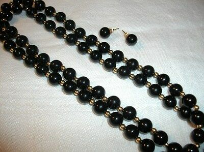 "Vintage 14K Yellow Gold Black Onyx 7Mm Bead 29"" Necklace Earrings Set 58 Grams"