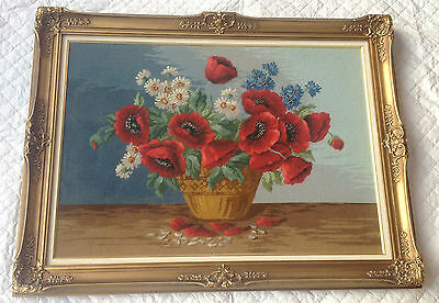 Large Poppies/Flowers in Vase Petit Point - Gold Frame Very Well Done!  711