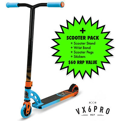 2016 MADD GEAR MGP VX6 Pro Scooter Complete BLUE/ORANGE + $60 SCOOTER PACK