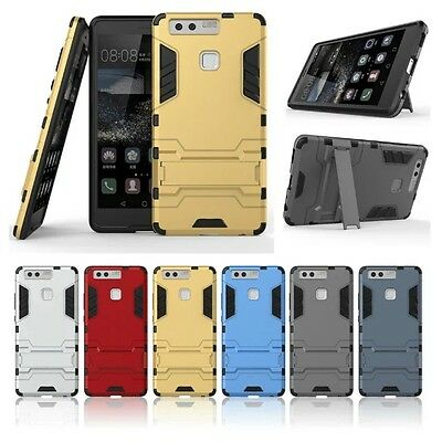 10pcs/Lot Hybrid Silicone PC Kickstand Hard Case Cover for Huawei P9