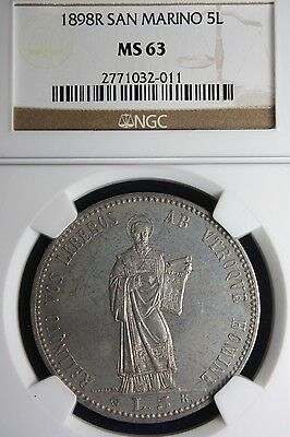 1898 San Marino 5 Lire Ngc Ms63 ~ D-302 Crown & Talers ~ Beautiful Design Gem+