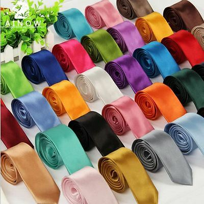 Men Teenager Boys Solid Plain Satin Elastic Neck Tie Necktie -Wedding/Party Prom