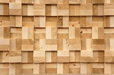 Wall Cladding Wood Paneling 3D Vintage Solid Oak Birch End-grain Planed Panel