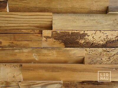 Antique Wall Cladding Reclaimed Wood Paneling Recycled 3D Vintage untrimmed edge