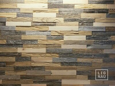 Antique Wall Cladding Reclaimed Wood Paneling Recycled 3D Sun-faded Weathered