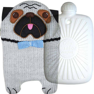 Hugo Frosch Eco Hot Water Bottle With Luxury Knitted Pug Cover 0.8L