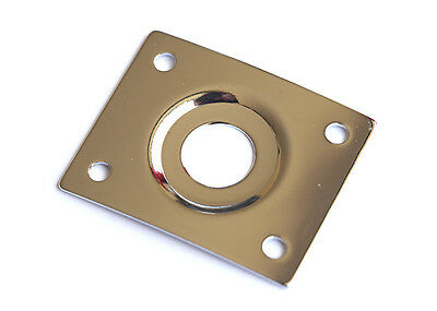 Rectangular Guitar Jack Plate • Curved and Recessed • Chrome