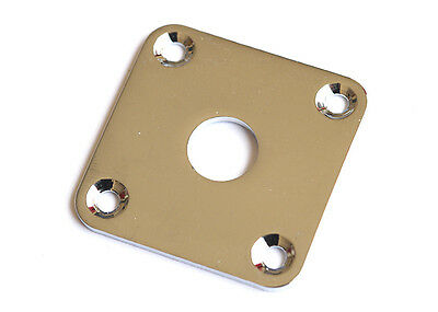 Square LP Style Guitar Jack Plate • Curved Metal • Chrome