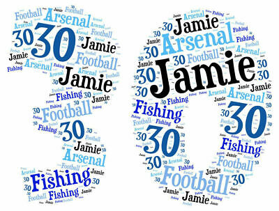 Personalised Custom Made 50th Birthday Word Cloud Present Gift 50 Party New Blue