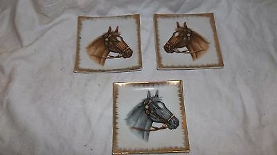 3 CERAMIC HORSE PLATE trays -World Creations by Orimco