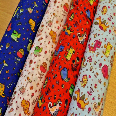 Friendly Kids Monsters, Dinosaurs Polycotton Fabric, Bunting Childrens Craft