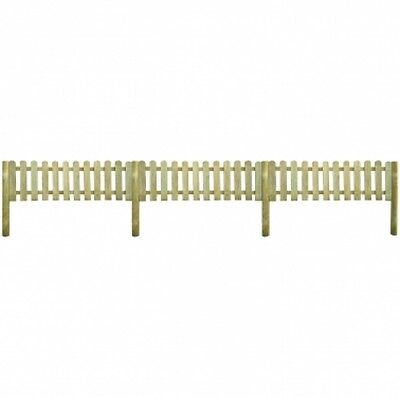 Garden Fence Fencing 6 m Long Lawn Border Wooden Outdoor Posts Picket Fence