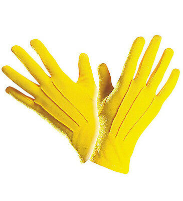 Short Bright Yellow Gloves Clown Or Any Fancy Dress Accessory Unisex