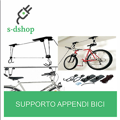 Supporto Appendi Bici Staffa Bicicletta Soffitto Garage Carrucola Gancio