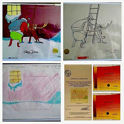 HOW THE GRINCH STOLE CHRISTMAS 3 Original Cel/Sketch/drawing signed Chuck Jones