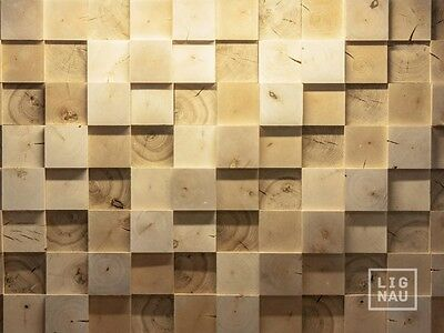 Wall Cladding Wood Paneling end-grain 3D Vintage Planed Oak Birch Alder Panel