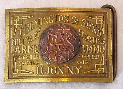 Vintage High Quality Solid Brass - E. Remington & Sons Belt Buckle