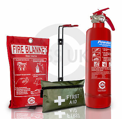 1Kg Powder Fire Extinguisher With Blanket &1St Aid Kit For Homes Office Kitchens